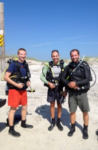 Justin, Tony and Matt ready to get into the water at Onslow Beach