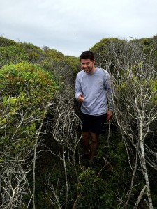 Ethan confirming the smell of death and the lack of room to collect samples in the thicket.