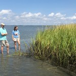 August: Selecting a site to monitor marsh-shoreline movement.